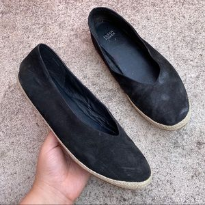 Eileen Fisher Black Suede Leather Espadrill Loafer
